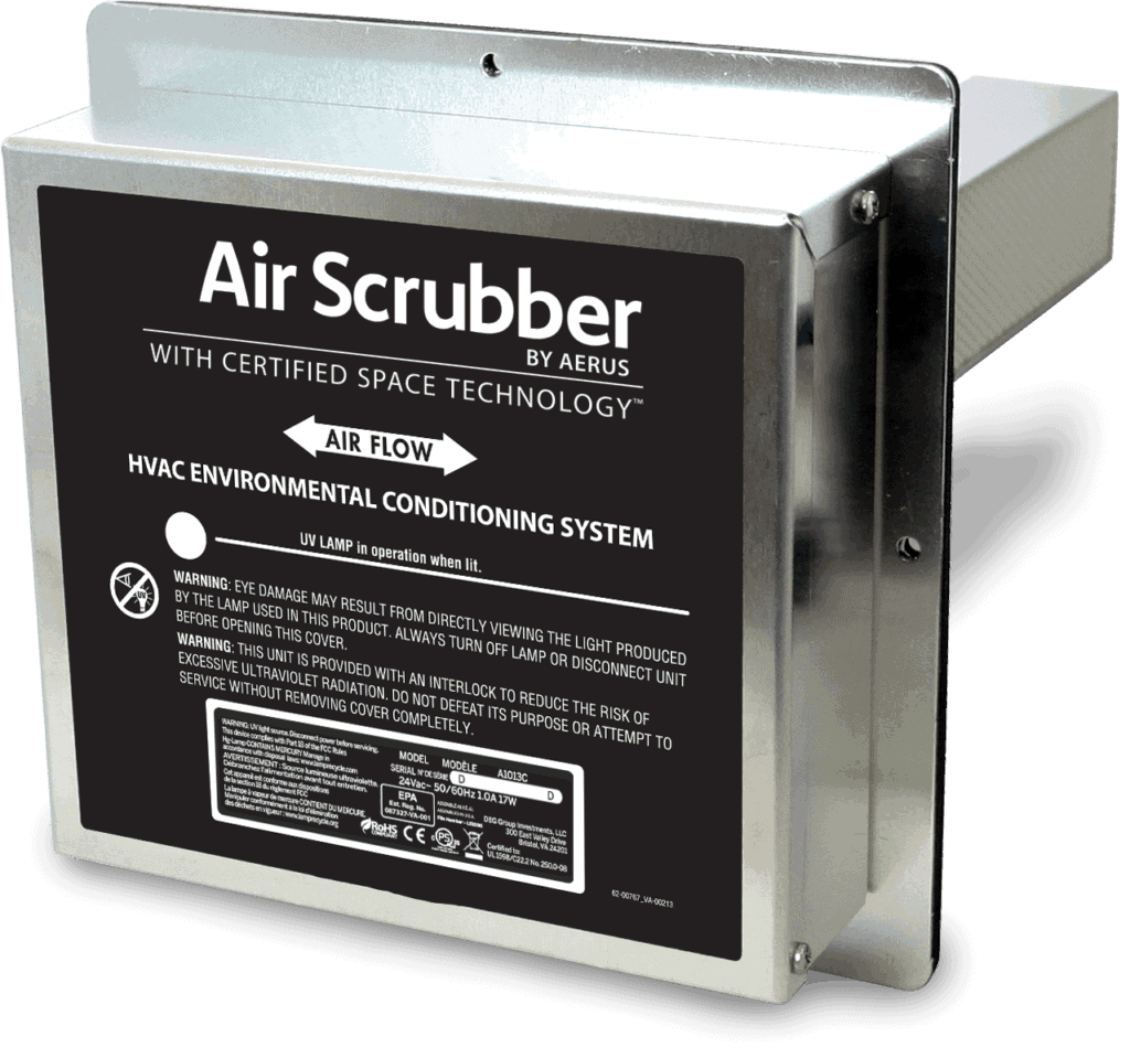 Air scrubber plus on an all white background.