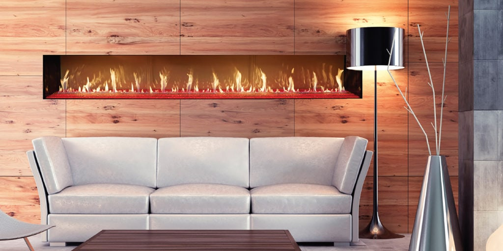 Fireplace spanning accross a wood background.