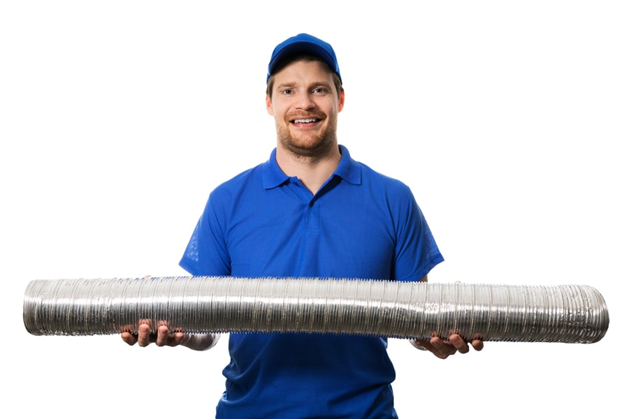 hvac worker with flexible ventilation system tube in hands.