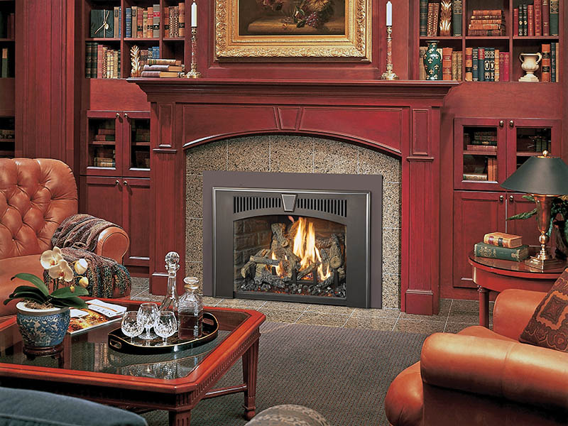 Lopi fireplace spreading warmth to sleek red room